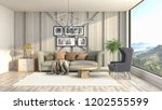 interior of the living room. 3d ... | Shutterstock . vector #1202555599