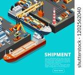 isometric 3d seaport terminal...   Shutterstock .eps vector #1202562040