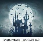 dracula dark castle silhouette...   Shutterstock . vector #1202601160
