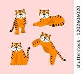 set of cute vector tegirs in... | Shutterstock .eps vector #1202606020