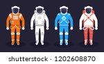 astronaut and cosmonaut in a... | Shutterstock . vector #1202608870