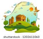 scenic landscape of farm...   Shutterstock .eps vector #1202611063