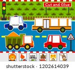 cut and glue game  roadway | Shutterstock .eps vector #1202614039