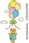 teddy bear flying with box gift ... | Shutterstock .eps vector #1202614450