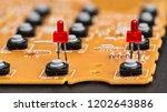 disassembled telephone. red led ... | Shutterstock . vector #1202643886