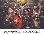 group of girls celebrating and... | Shutterstock . vector #1202653330