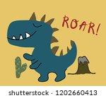 childish dinosaur boy vector... | Shutterstock .eps vector #1202660413
