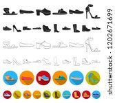 a variety of shoes flat icons... | Shutterstock .eps vector #1202671699