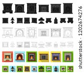 different kinds of fireplaces... | Shutterstock .eps vector #1202674276