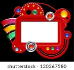abstract red interface with...