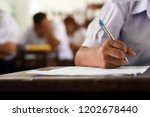 close up of writing hands of... | Shutterstock . vector #1202678440