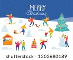 vector christmas winter card... | Shutterstock .eps vector #1202680189
