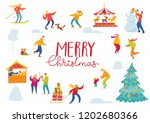 vector christmas winter card... | Shutterstock .eps vector #1202680366