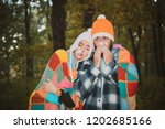 showing sick couple sneezing at ... | Shutterstock . vector #1202685166