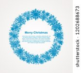 festive wreath with snowflakes. ... | Shutterstock .eps vector #1202688673