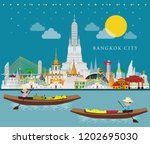 bangkok in thailand and... | Shutterstock .eps vector #1202695030