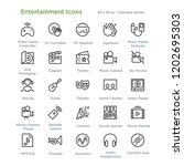 entertainment icons   outline... | Shutterstock .eps vector #1202695303