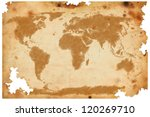 world map on old brown paper | Shutterstock . vector #120269710
