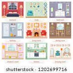 a set of rooms for various... | Shutterstock .eps vector #1202699716
