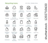 Stock vector recycling icons outline styled icons designed to x pixel grid editable stroke 1202710633