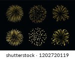 beautiful gold fireworks set.... | Shutterstock .eps vector #1202720119