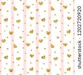 gold heart seamless pattern.... | Shutterstock .eps vector #1202720920