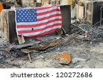 Burned Houses With American Flag