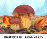mushrooms on the meadow.... | Shutterstock . vector #1202726890