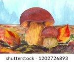 mushrooms on the meadow.... | Shutterstock . vector #1202726893