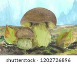 mushrooms on the meadow.... | Shutterstock . vector #1202726896