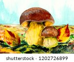mushrooms on the meadow.... | Shutterstock . vector #1202726899