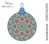 colorful christmas ball with... | Shutterstock .eps vector #1202741293
