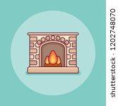 classic home fireplace flat... | Shutterstock .eps vector #1202748070