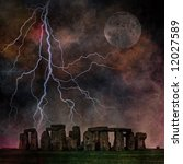 Stormy Stonehenge - stock photo