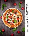 delicious italian pizza served...   Shutterstock . vector #120276718