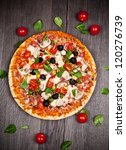 delicious italian pizza served...   Shutterstock . vector #120276739