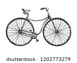 Hand drawn illustration of safety bicycle. Retro bicycle was used in the 1880s – 1890s.