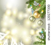 christmas background with balls ... | Shutterstock . vector #120277330