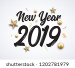 2019 hand written new year.... | Shutterstock .eps vector #1202781979