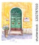 beautiful old door and wall of... | Shutterstock . vector #1202787010