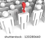 human person in a crowd with red exclamation mark - stock photo