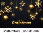 merry christmas. shimmering... | Shutterstock .eps vector #1202810089