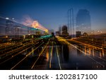 Abstract cityscape view of downtown Minneapolis Minnesota in the Twin Cities area. Intentional blur, beautiful long exposure during blue hour