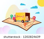 tracking online cargo delivery... | Shutterstock .eps vector #1202824639