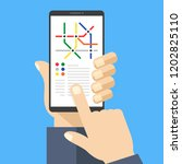 subway map on smartphone screen.... | Shutterstock .eps vector #1202825110