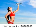 young female sport girl in red... | Shutterstock . vector #120282838