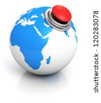 blue earth globe with red button - stock photo