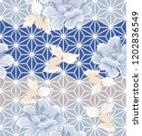 japanese pattern with peony... | Shutterstock .eps vector #1202836549