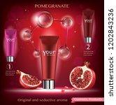 pomegranate skin care cosmetic.   Shutterstock .eps vector #1202843236
