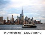 ny waterway ferry passes on... | Shutterstock . vector #1202848540